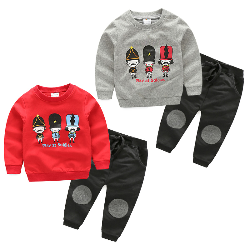Baby pattern set Pullover Coat 2017 spring Korean version new boy children's clothing children's warm suits two colors