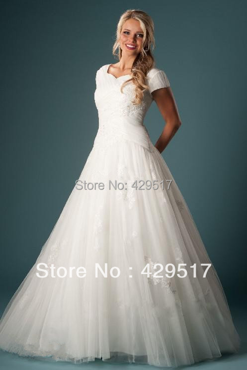 Ball Gown Wedding Dresses With Short Sleeves : High neck ball gown plus size short sleeves women