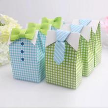 20 pcs My Little Man Blue Green Bow Tie Birthday Boy Baby Shower Favor Candy Treat Bag Wedding Favors Candy Box gift Bags(China (Mainland))