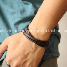 Fashion vintage british style multi-layer hand-rope strap casual genuine leather bracelet