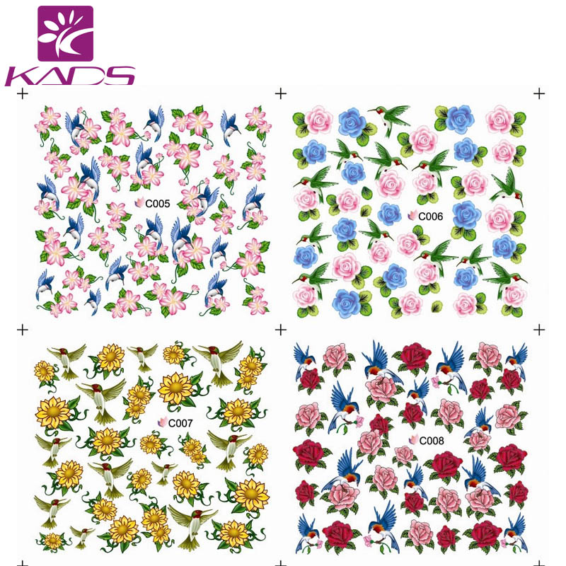 KADS C005-008 Mix Styles Flower full cover nail stiker for nail water transfer,very cute decoration.(China (Mainland))