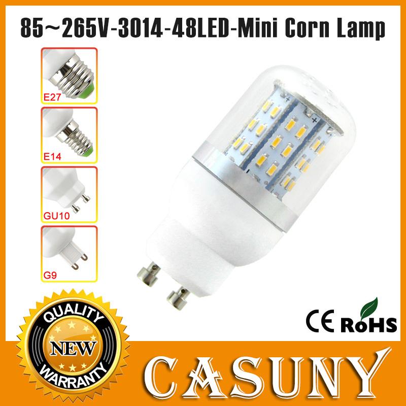 AC85-265V 7w led bulb g9 3014 smd led gu10 220v e27 led corn bulb lamp 48LED e14 light white For bedroom, living room, kitchen(China (Mainland))