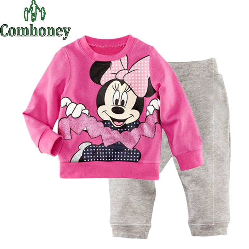 Minnie Mouse Pajama Sets for Girls Cotton Long Sleeve Kids Pajamas Sweet Pyjama Clothing Sets Children Spring Winter Sleepwear(China (Mainland))