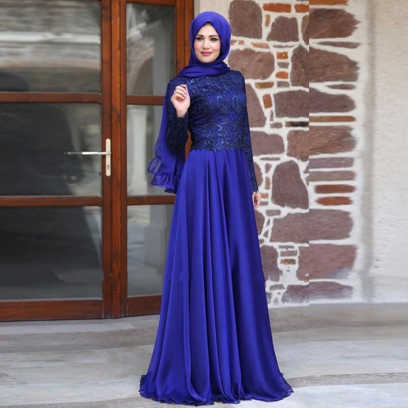 Buy 2015 Muslim Evening Dresses A Line Long Sleeves Royal Blue Lace Hijab