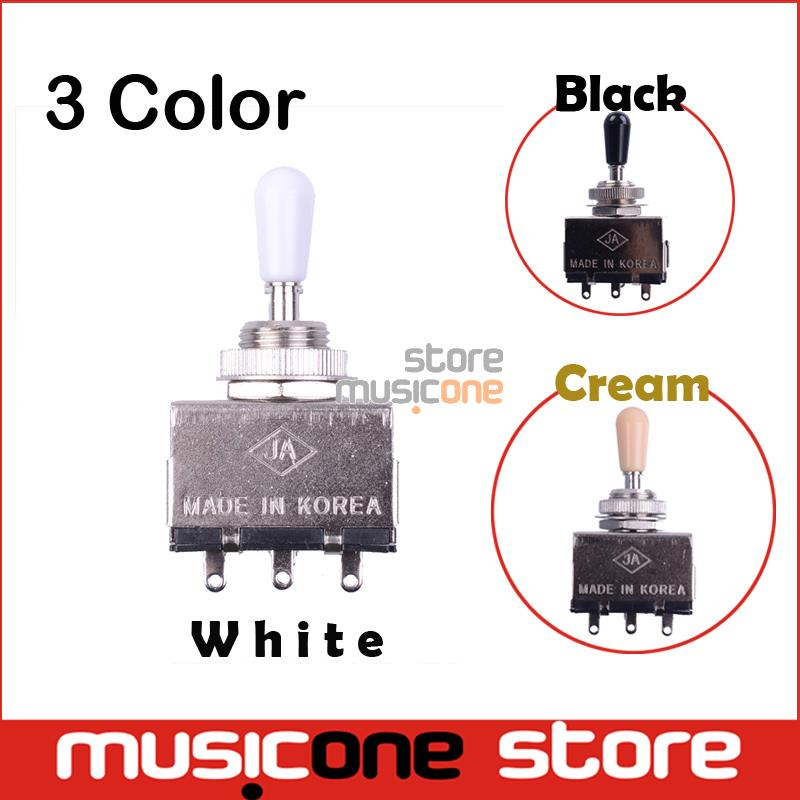 Chrome 3 Way Toggle Switch for Electric Guitar with Black/Cream/white Tip Free shipping(China (Mainland))