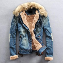Free Shipping 2015 New Winter Men Clothing Jeans Coat Men Outwear With Fur Collar Wool Denim Jacket Thick Clothes Plus Size 3XL(China (Mainland))