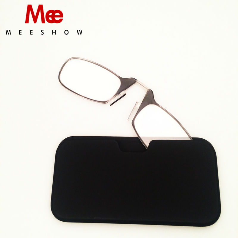 Universal pod Reading Glasses +1.5 to +2.5, Portable Wallet Reader with Case, nose clip on Mini reading glasses with case