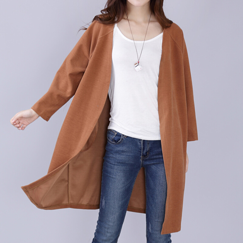 Women's Long Trench Coat 2016 NEW Spring Cotton Coat Ladies Solid Open Stitch Cardigan Trench Coat for Women Plus Size 2 Color