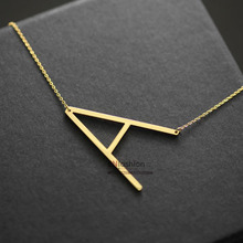 Fashion letter pendant necklace initial necklace 24K gold chain alphabet collar necklace women stainless steel jewelry wholesale(China (Mainland))