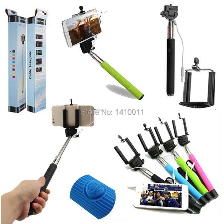 100pcs lot wired selfie stick handheld monopod built in shutter extendable. Black Bedroom Furniture Sets. Home Design Ideas