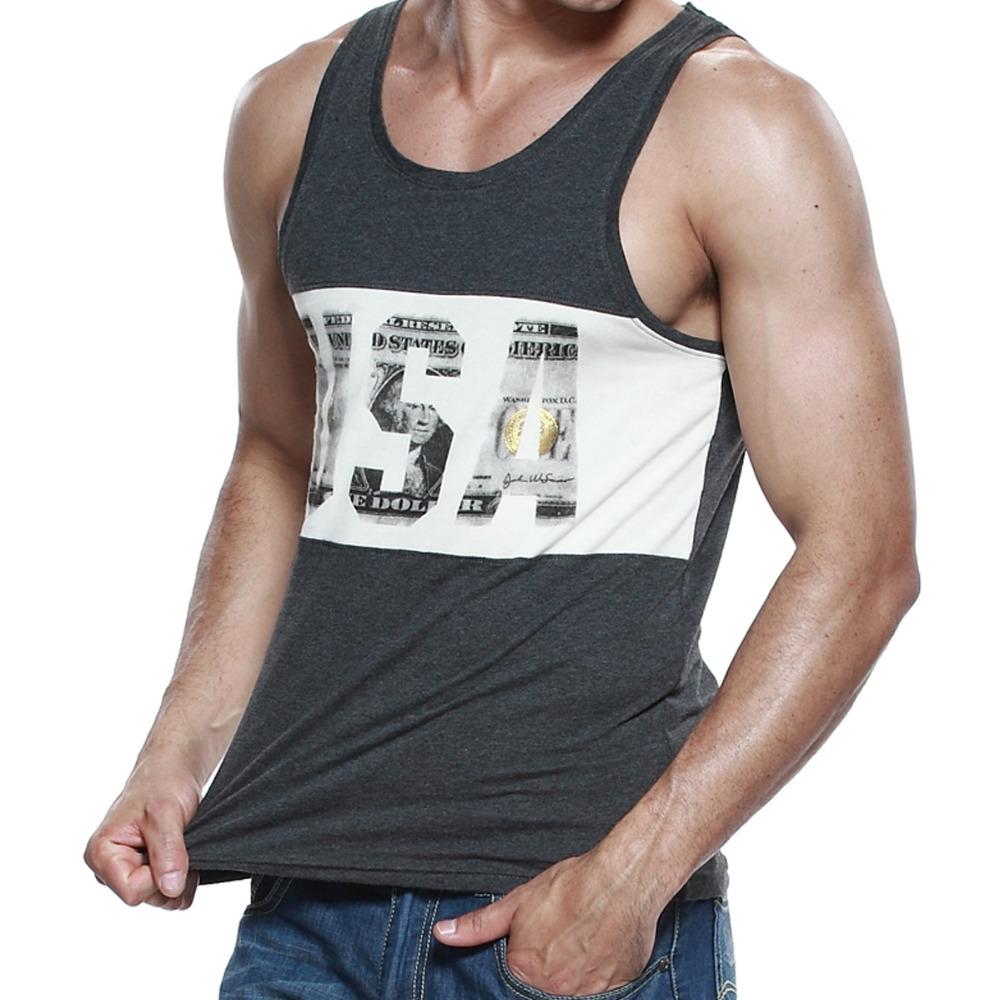 Men's Fashion US Printed Tanks Cotton Tank Tops for Men(S M L XL)-Free shipping(China (Mainland))