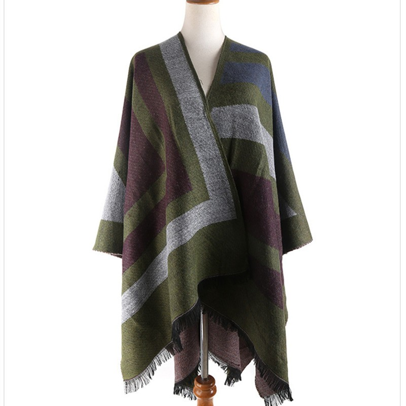 Tassel Split Shawl Pashmina Infinity Blanket Geometric Cashmere Scarf Women Ponchos and Capes Wraps Tippet Winter Shawls Cloak