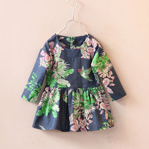 casual dress girls 2015 summer baby denim pattern kids party dresses for girl brand clothing clothes 2-7 Year old New toddler(China (Mainland))