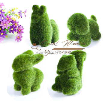 Freeshipping,competitive price 4pcs/lot Artificial Turf small cute animals decorations, animal grass land,Reduce the eye fatigue