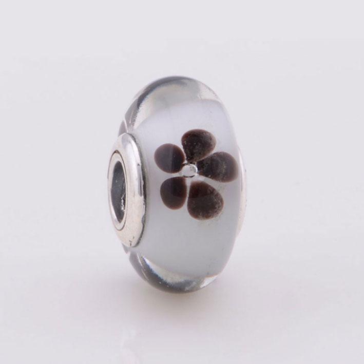 Flower Murano Charm Glass Bead 925 Sterling Silver Core Beads fits Pandora Bracelet DIY Women Jewelry(China (Mainland))