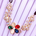 Free shipping Lady Imitation diomands rhinestone acrylic choker multicolor crystal gold plated leather chain necklace elegant
