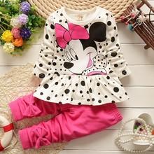 2016 new Minnie t-shirt + pants suit arrival Girls Clothing set 2pcsset baby girls casual long-sleeved t-shirt dot leggings set