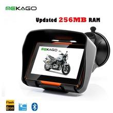 Free Shipping 4 3 Inch Updated 256RAM Motorcycle GPS Navigation System Waterproof 8GB Internal Memory Bluetooth