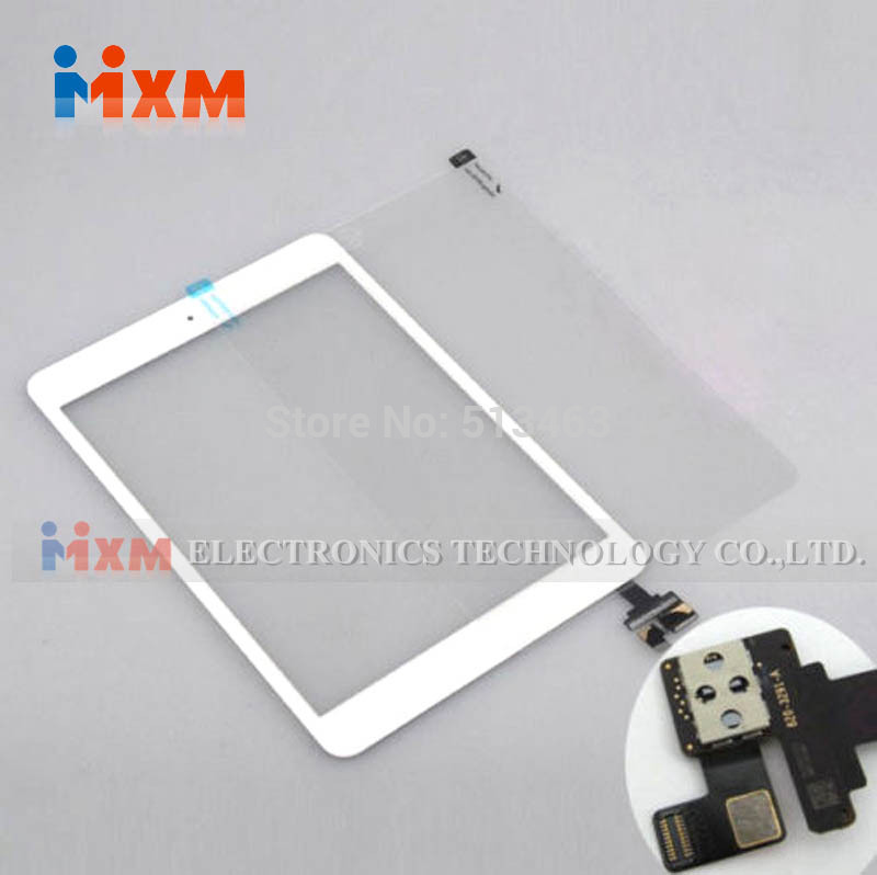 Free Shipping Touch Glass Screen Digitizer IC Connector+Home Button Flex For iPad Mini White