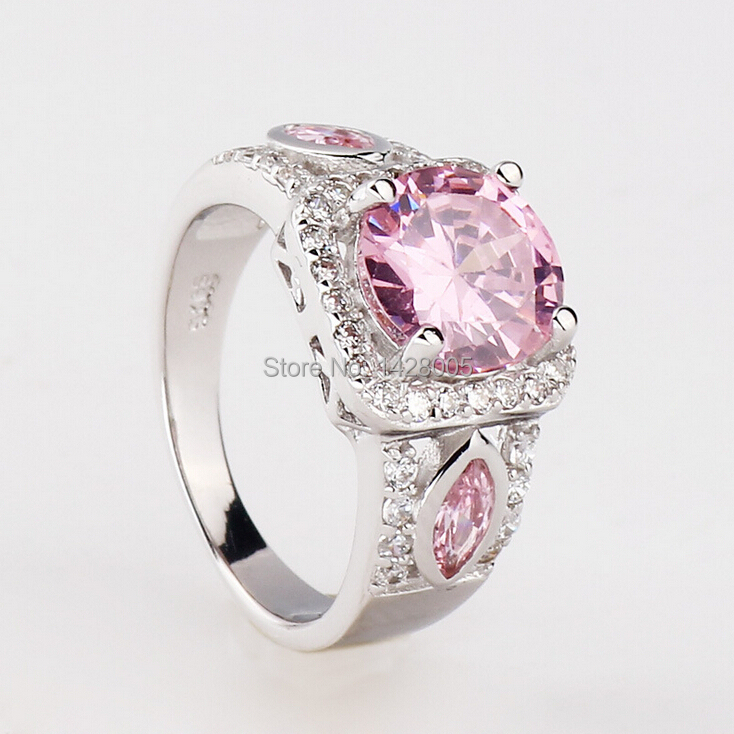2015 Wholesale Charm Fancy Shinning Round Cut Pink 925 Silver Ring,Brand Sterling Silver Jewelry Wedding Rings For Women RWG013(China (Mainland))