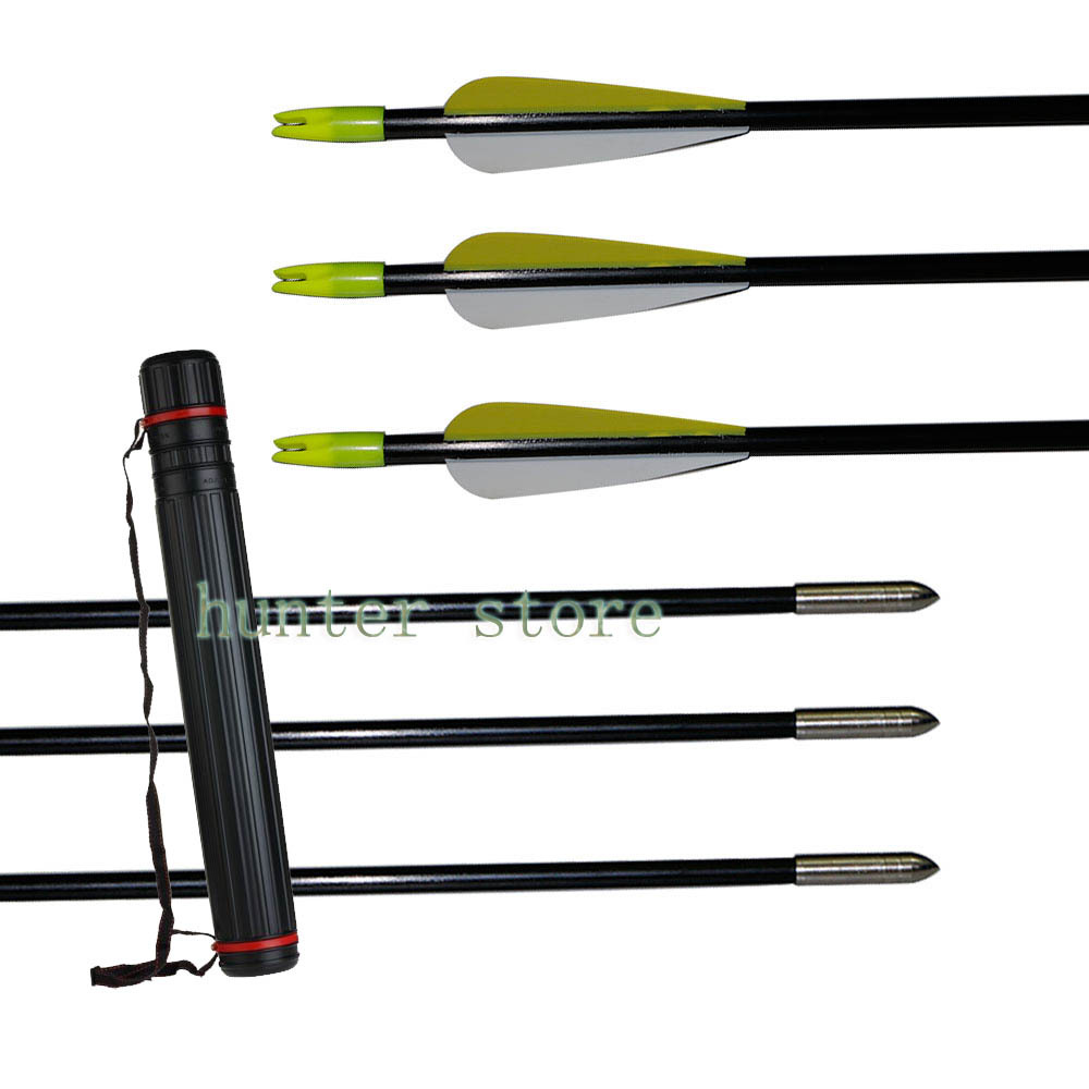 Takedown bow hunting fiberglass arrow 31 inch 10 pieces arrow nock fletching and telescopic tube arrow