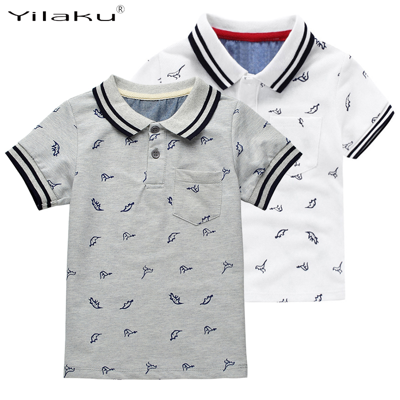 New Summer Dinosaur Boys T-shirts Cotton Kids Tops Sports Tee Turn-down Collar Boys Polo Shirts 2-7Y Children's Clothing CG059(China (Mainland))