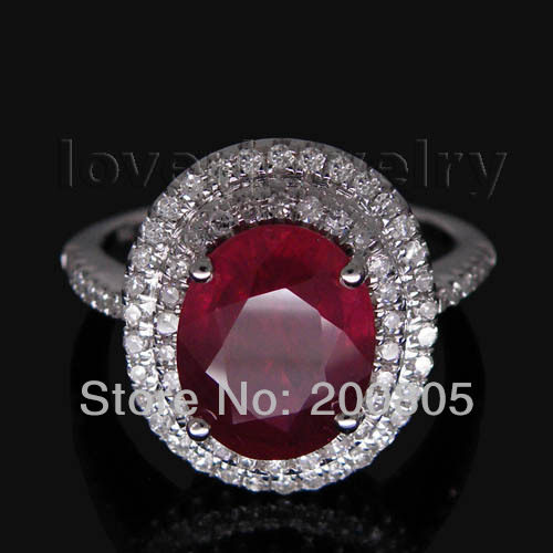 Jewelry Sets Vintage oval 9x11mm Solid 14Kt White Gold Diamond Natural Ruby Ring R0014<br><br>Aliexpress