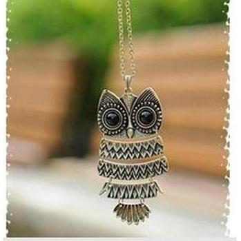 N014 Ancient Necklace Cute Owl Necklace With Big Eye Pendant restore Necklace wholesale charms Jewelry for female B2