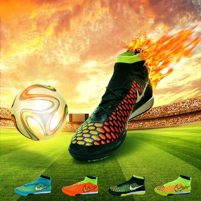 2015men high ankle indoor football boots forelastico IC soccer shoes blue/black/orange/yellow flat sneakers Futsal Soccer Cleats(China (Mainland))