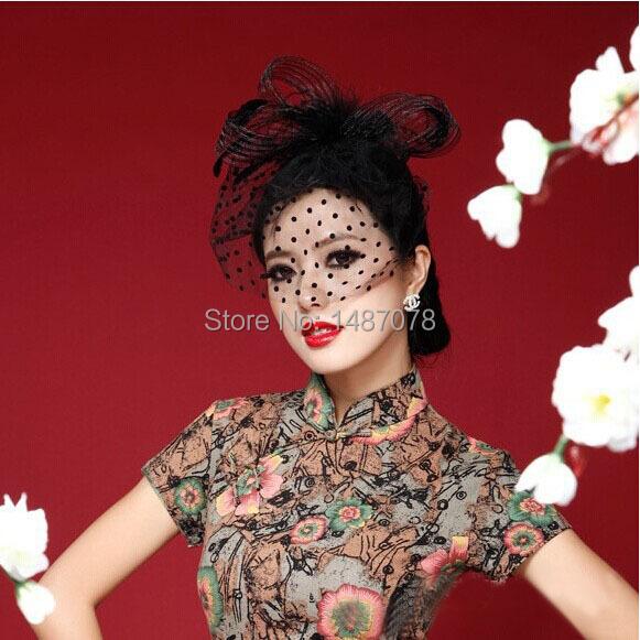 Black/White Modern Wedding Fascinator Veil Feather Hard Yarn Headband Hats Women Brides Hair Accessories(China (Mainland))