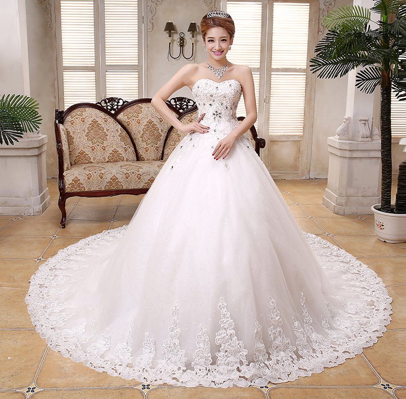 2015 hot sale trailing strapless tulle organza lace for Wedding dress for sale cheap
