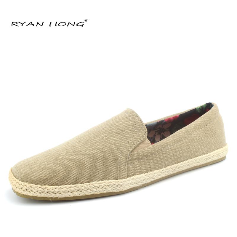Alpargatas hombre zapatos ocasionales de yute alpargatas planas mocasines de lona de color caqui para hombre