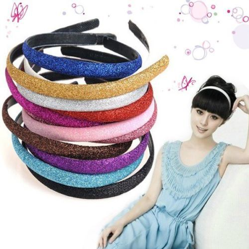 6 Colors New Fashion Women Lady Girls Glitter Headband Sparkling Leather Plastic HairBand Hair Accessories(China (Mainland))