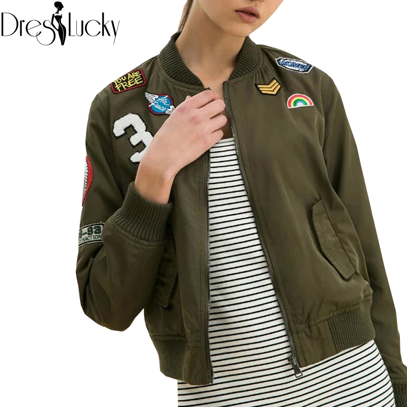 Fashion cool basic bomber jacket 2016 new autumn army green women jackets coat sport badge patch casual zipper outerwear clothes(China (Mainland))