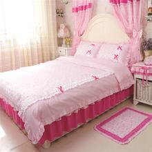 4pcs/set korean pastoral 100% cotton bedding set duvet cover bedspread bedskirt princess bedroom dobby printed bedclothe textile(China (Mainland))