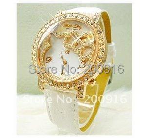 Free Shipping Hotsale Leather Quartz Watch Children Crystal Hello Kitty Watch MYZ323(China (Mainland))