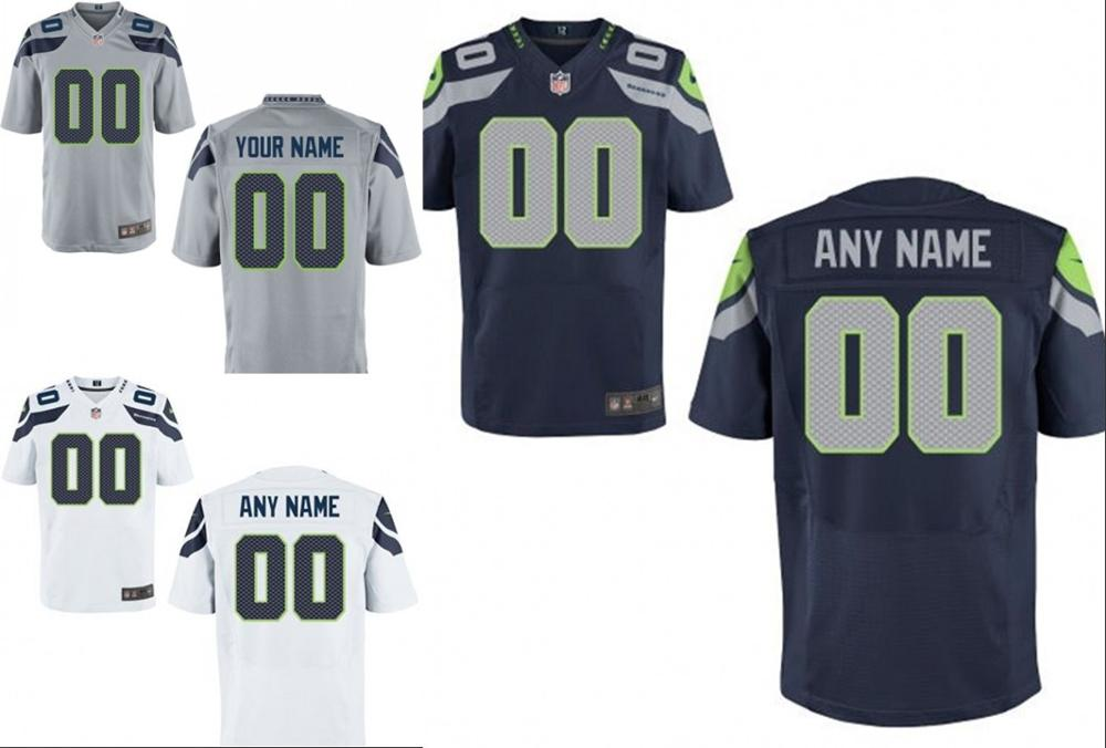 100% stitched Seattle Seahawks Personalized Embroidery Logos Customized Any Name And Number Men Women youth size S to 3XL(China (Mainland))