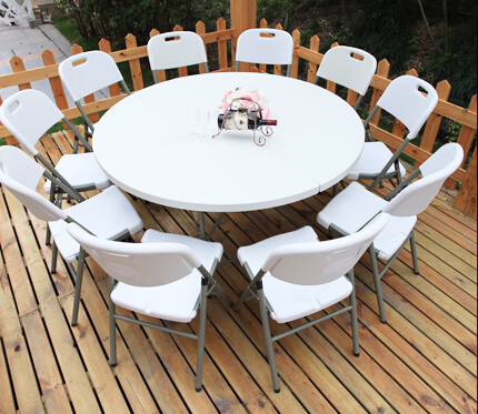 HDPE plastic folding dining table round for hotels restaurant home and outdoor 152D(China (Mainland))