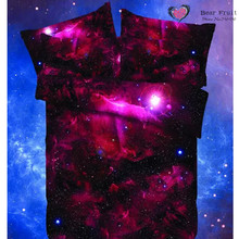 NEW Hot Galaxy Bedding Set Close to Galaxy bedsheet Quilt Cover Pillowcase Star Pictures 3d bed sets queen size 7 colours(China (Mainland))