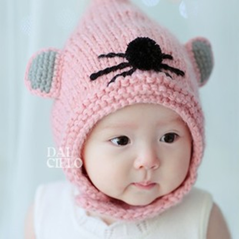 baby hat Fall and winter knit Korean children cute mouse cartoon baby ear cap sleeve head cap men and women warm wool hat(China (Mainland))