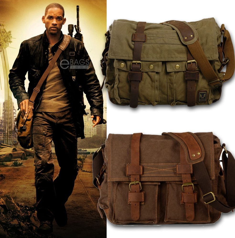I AM LEGEND Will Smith men messenger bags military vintage canvas&genuine leather cross body bags 14 or 17'' laptop satchel bags(China (Mainland))