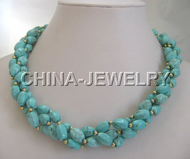 """Beautiful 20""""12mm natural turquoise &gold bead necklace"""
