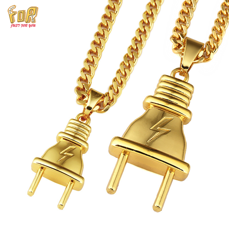 JFY Hip Hop Chain Plug Necklace18K Real Gold Plated Pendant&Necklace Men Jewelry New Trendy 5MM Wide Cuban Necklace(China (Mainland))