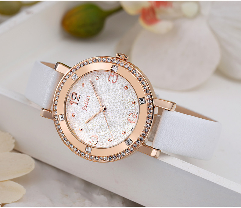 Lady Wrist Watch Quartz Women's Hours Best Fashion Dress Bracelet Band Leather Crystal Elegant Valentine Girl Gift Julius JA-827