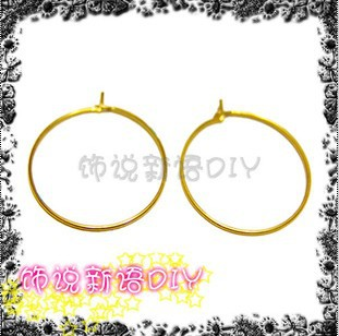 25MM 200PCS Gold Color Plate Hoop Earrings Hooks Clasps Jewelry Fittings(China (Mainland))