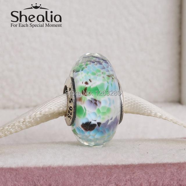 Весна 2015 новый чирок море стеклянные бусы с смешанных цветов стекла стерлингового серебра 925 SHEALIA ювелирные изделия для бренда браслеты MG046