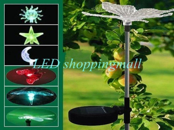 4pcs/lot retail Freeshipping,solar powered 7 color dragonfly light,outdoor colorful solar garden lanscape butterfly light