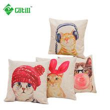 Cat Printed Pillow Linen Cushion Throw Pillow