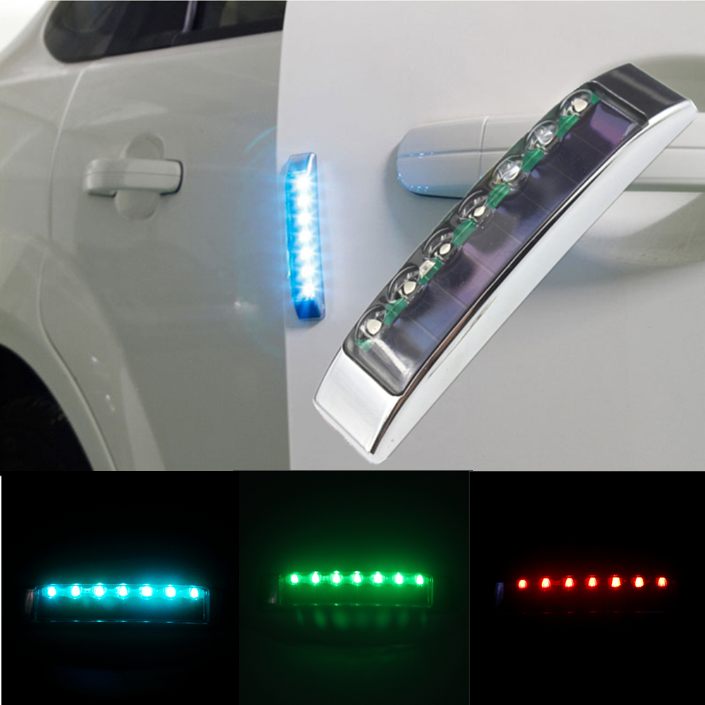 2Pcs Car Styling Solar door stickers bumper lights in addition to static functions in 7 Color For VW Mazda Hyundai Toyota Skoda