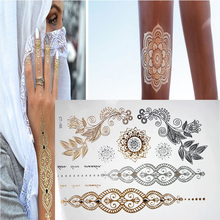 Free shipping new metal metal temporary Flash henna tattoos gold sex products metal jewelry Tatouage body colored stickers